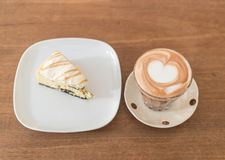 Hot mocha coffee with cake. Hot mocha coffee with cookies and cream cheese cake Stock Photos