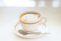 Hot mocha coffee. Mocha coffee drink on a white table Stock Image