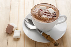 Hot mocha with marshmallow Stock Images