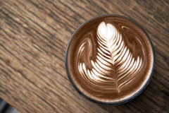 Hot mocha serving on wooden table Royalty Free Stock Photo