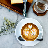 Hot mocha on table. In the coffee shop Royalty Free Stock Photos