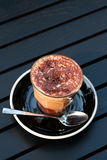 Hot mocha on table. In the coffee shop Royalty Free Stock Images
