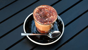 Hot mocha on table. In the coffee shop Stock Photography