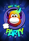 2016 hot monkey in earphones New year party. 2016 hot monkey in earphones New year party design Stock Photo