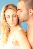 Hot in the morning. Attractive young couple in love, early morning  in bed Stock Images