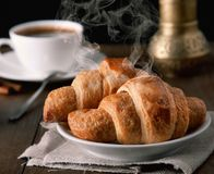 Croissants with coffee stock photo