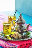 Hot Moroccan Mint Green Tea Stock Photos