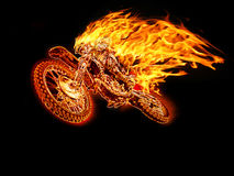 Hot Moto. Jupping in black Background Stock Photo
