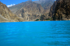 Hot mountain with blue river and sky in Naran Pakistan. Royalty Free Stock Photo