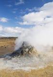 Hot mud pools iceland scandinavia Europe. Hot springs steam vents volcanic view smoking remote arid nature phenomenon tourism holidays vacations european Stock Image