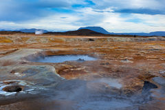 Hot Mud Pots in the Geothermal Area Hverir, Iceland Royalty Free Stock Photos