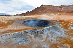 Hot Mud Pots in the Geothermal Area Hverir, Iceland Stock Photography