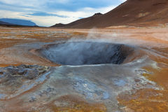 Hot Mud Pots in the Geothermal Area Hverir, Iceland Stock Images