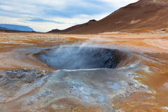 Hot Mud Pots in the Geothermal Area Hverir, Iceland Royalty Free Stock Image