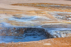 Hot Mud Pots in the Geothermal Area Hverir, Iceland Stock Image