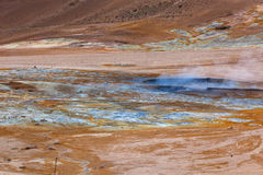 Hot Mud Pots in the Geothermal Area Hverir, Iceland Stock Photos