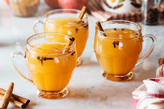 Hot Mulled Cinnamon Spiced Apple Cider Stock Photos
