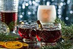 Hot mulled red wine royalty free stock photography