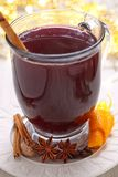 Hot mulled wine with christmas spices Royalty Free Stock Image
