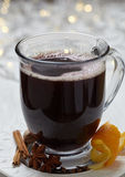 Hot mulled wine with christmas spices Stock Photos