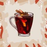 Hot Mulled Wine classic cocktail illustration. Alcoholic warm bar drink hand drawn vector. Pop art menu image item royalty free illustration