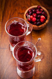 Hot mulled wine with cranberries Royalty Free Stock Images