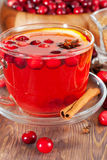 Hot mulled wine with cranberries Stock Photo