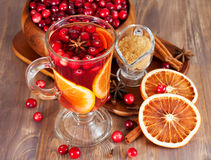 Hot mulled wine with cranberries Royalty Free Stock Photo
