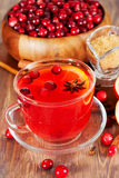 Hot mulled wine with cranberries Royalty Free Stock Photos
