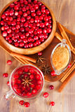 Hot mulled wine with cranberries Royalty Free Stock Photography