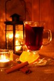 Hot mulled wine in the cup Stock Image