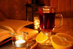Hot mulled wine in the cup Stock Photo