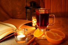 Hot mulled wine in the cup Royalty Free Stock Image