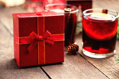 Hot mulled wine and gift box Stock Image