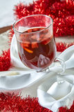 Hot mulled wine in a glass cup Royalty Free Stock Images