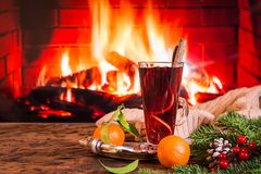 Hot mulled wine in a glass stock photography