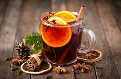 Hot mulled wine. With cinnamon and star anise Royalty Free Stock Photos