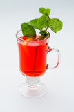 Hot mulled wine with mint royalty free stock photo