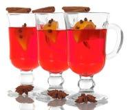 Hot mulled wine with orange slice Royalty Free Stock Photo