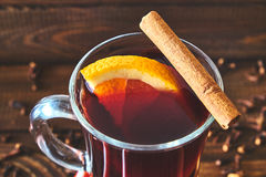 Hot mulled wine with orange Stock Photos
