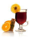Hot mulled wine with oranges and cinnamon Stock Images