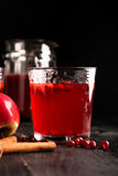 Hot mulled wine prepared with fruits and various spices Stock Image