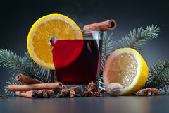 Hot mulled wine with spices Stock Images