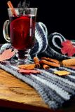 Hot Mulled wine with spices cinamon, star anise and dried lemon on knitted scarf .Fallen leaves. Autumn theme.Selective focus.Vert. Hot Mulled wine with spices royalty free stock photo