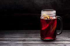 Hot mulled wine with steam Royalty Free Stock Photo