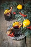Hot mulled wine, winter  drink Stock Photos