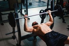 Hot muscular men in a gym on a bench press using a barbell, exercise equipment on a blurred dark background. Men with a hot muscular body with naked torso using royalty free stock photography