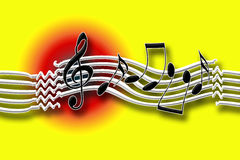 Hot Music. Bright sunny joyful loud music background with dancing musical symbols Stock Photos