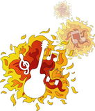 Hot Music. Image of music signs and a guitar on a fire background vector illustration