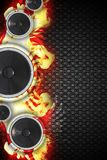 Hot Music Event. Design. Cool Three Bass Speakers with Flames Music Theme. Floral Pattern Dark Background. Great Right Side Copy Space Stock Photography